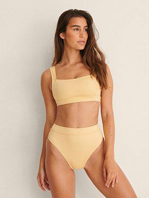 NA-KD Swimwear High Waist Wide Rib Bikini Panty gul