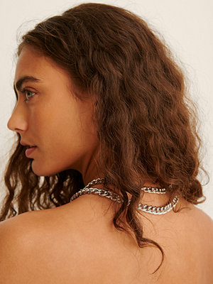 NA-KD Accessories smycke Återvunnet Halsband Med Dubbel Pansarkedja silver