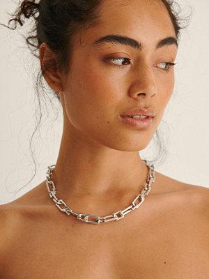 NA-KD Accessories smycke Återvunnet Rektangulärt Chunky Kedjehalsband silver