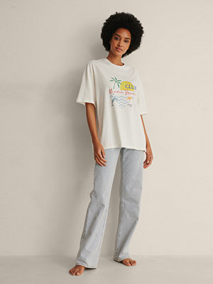 NA-KD Trend Ekologisk T-shirt Med Tryck offvit