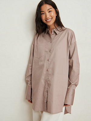 NA-KD Trend Recycled Oversize Skjorta Med Ficka beige