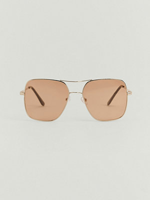 NA-KD Accessories Fyrkantiga Solglasögon I Metall brun