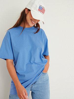 NA-KD Basic Ekologisk Oversize T-Shirt Med Rund Hals blå