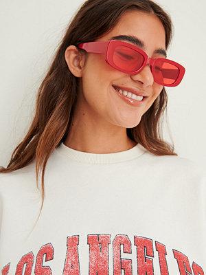 Solglasögon - NA-KD Accessories Breda Solglasögon Med Retrobågar röd