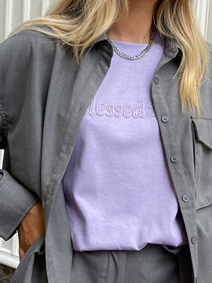 Marije Zuurveld x NA-KD Ekologisk Oversized T-shirt I Kraftig Bomull lila