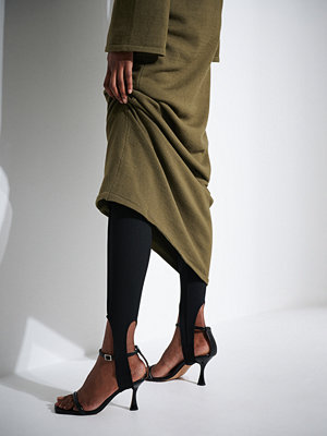 Leggings & tights - Khaoula x NA-KD Sirrupleggings med detalj svart