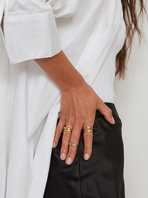 NA-KD Accessories smycke 6-Pack Mixade Guldpläterade Mönstrade Ringar guld