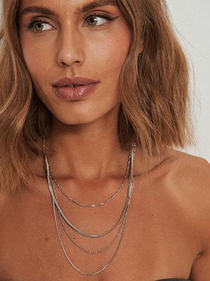 NA-KD Accessories smycke Återvunnet Halsband Med Mixade Kedjor I Lager silver