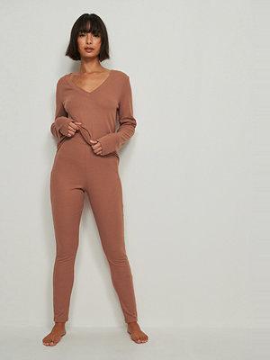 Leggings & tights - NA-KD Lingerie Återvunna mjukt ribbstickade tights med hög midja brun