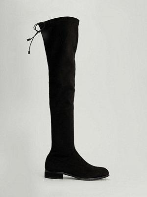 NA-KD Shoes Overkneestövlar med låg klack svart