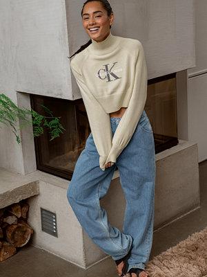 Calvin Klein for NA-KD Croppad tröja med halvpolo beige