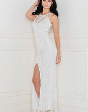 Rebecca Stella Crochet Open Front Split Maxi Dress