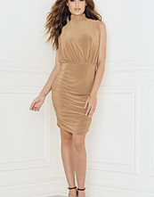 Rebecca Stella Cowl Neck Dress With Ruched Gatherings On Side