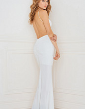 Rebecca Stella Slinky Fishtail Dress with Deep V Ruched Back