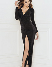 Rebecca Stella Sex on Legs Plunge Detailed Maxi Dress