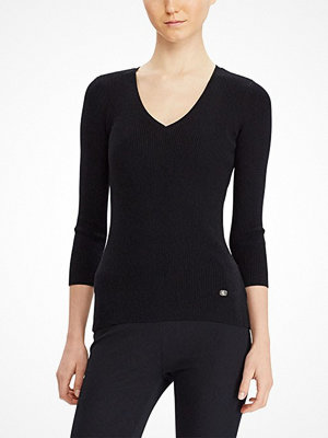 Lauren Ralph Lauren FARARA - 3/4 SLEEVE V-NECK POLO BLACK