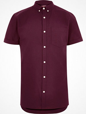 River Island Burgundy short sleeve Oxford shirt