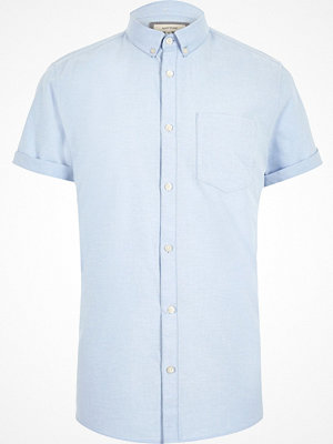 Skjortor - River Island Light Blue short sleeve Oxford shirt