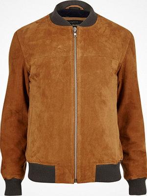 River Island Tan premium suede bomber jacket