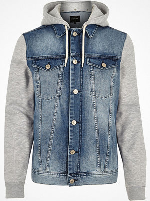 River Island Blue jersey hoodie denim jacket