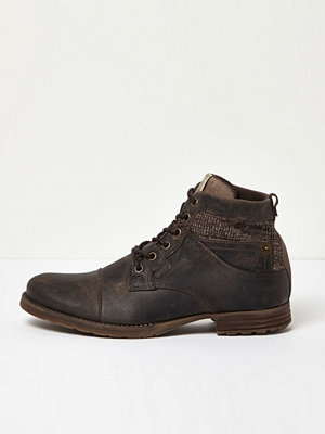 Boots & kängor - River Island Brown leather textile panel work boots