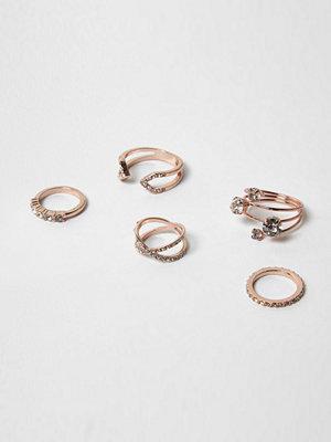 River Island Rose Gold tone diamante rings pack