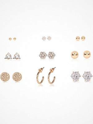 River Island örhängen Gold tone diamante stud earrings pack
