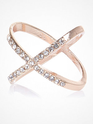 River Island Rose Gold tone diamante kiss ring