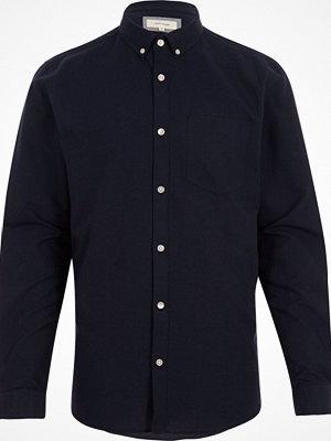 Skjortor - River Island Navy long sleeve Oxford shirt