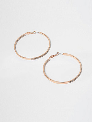 River Island örhängen Rose Gold jewel encrusted hoop earrings