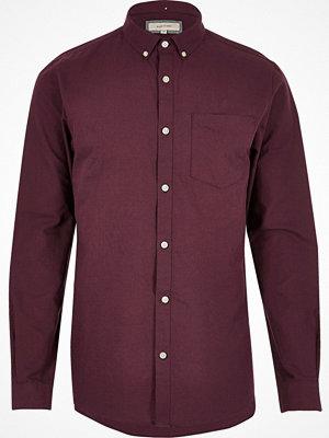 Skjortor - River Island Burgundy long sleeve Oxford shirt
