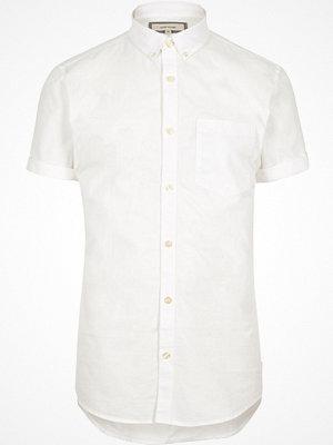 River Island White slim fit short sleeve Oxford shirt