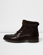 Boots & kängor - River Island Dark brown leather work boots