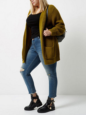 Cardigans - River Island Plus green chunky knit cardigan
