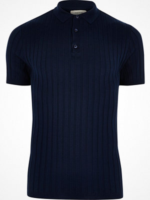 River Island Dark Blue ribbed muscle fit polo shirt