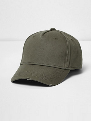 Mössor - River Island Khaki distressed baseball cap