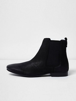 Boots & kängor - River Island Black nubuck leather Chelsea boots