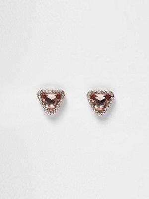 River Island örhängen Rose Gold tone gem diamante stud earrings