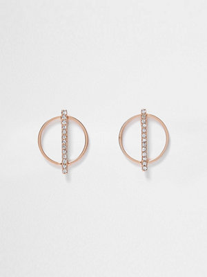 River Island örhängen Rose Gold tone circle diamante earrings