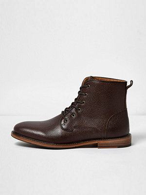 Boots & kängor - River Island Dark brown tumbled leather boots