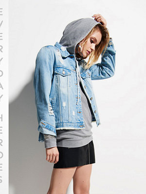 River Island Light Blue oversized ripped denim jacket