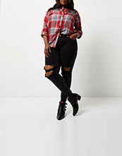 River Island Plus red check embroidered western shirt