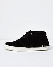 Boots & kängor - River Island Black leather fringed desert boots