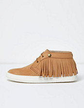 Boots & kängor - River Island Tan leather fringed desert boots