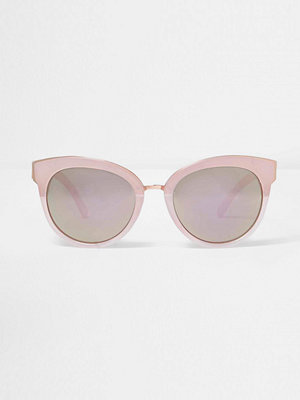 Solglasögon - River Island Pink mirrored lens cat eye sunglasses