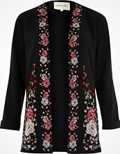 River Island Black floral embroidered duster coat