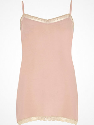River Island Pink lace detail cami top