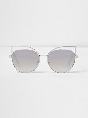 Solglasögon - River Island Silver wire cat eye mirror sunglasses