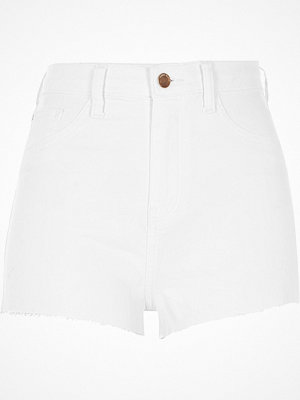 River Island White denim high rise hot pants
