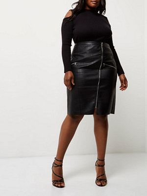 River Island Plus Black leather look pencil skirt